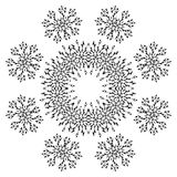 Pattern of snowflakes, contours Royalty Free Stock Photo