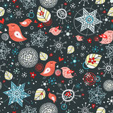 Pattern of snowflakes and love birds. Seamless pattern of bright red love birds and blue snowflakes on a dark background Royalty Free Stock Photo