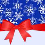 Pattern with snowflakes and place for text. eps10. Pattern with snowflakes, red bow and place for text. Vector illustration Royalty Free Stock Image