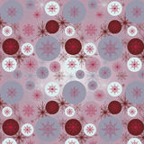 Pattern with snowflakes. Seamless pattern with snowflakes and circles Stock Photo