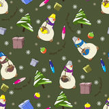 Pattern with snowman and Christmas tree. The green background is shown snowman with Christmas tree and Christmas gifts Royalty Free Stock Photography