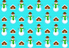 Pattern with snowmans. Vector seamless pattern with snowmans Royalty Free Stock Images