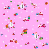 Pattern with snowmen and Santa Clauses Stock Photos