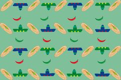 Pattern with sombreros and burritos Royalty Free Stock Image