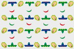 Pattern with sombreros and tacos Stock Images