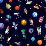 Pattern of space icons and infographics elements Stock Image