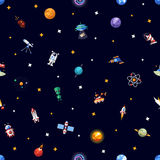 Pattern of space icons and infographics elements Royalty Free Stock Photography