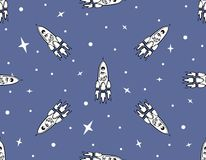 Pattern with Space Rockets and Stars. Seamless pattern with Space Rockets and Stars on a Blue Background. Space travel to Mars. Designe for fabric print Royalty Free Stock Photo