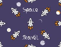 Pattern for Space Travel. Seamless space pattern with a rockets and planets on a blue background. Cartoon and cute illustration about space travel Stock Photography