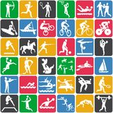 Pattern with sport icons Stock Photo