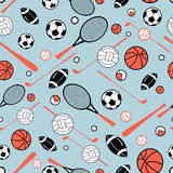 Pattern of sporting goods. Color graphic pattern sporting goods on a blue background Stock Photography