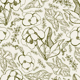 Pattern with spring flowers Stock Photo