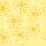 Pattern spring wildflowers. Pattern spring yellow wildflowers. Graphic texture with buttercups. Sketch pattern for print on clothing Vector Illustration
