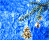 A pattern with a spruce for the New Year Stock Photography