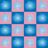 The pattern of squares and hexagons. Pattern composed of geometric shapes: colored squares and hexagons of different sizes Stock Image