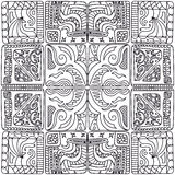 Pattern of squares. Seamless black-and-white pattern of squares in a zentangle style Royalty Free Stock Photo