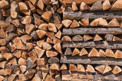 Pattern of stacked firewood Royalty Free Stock Photography