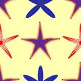 Pattern of starfish on a sandy beach vector illustration