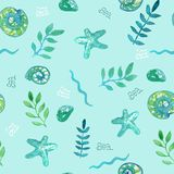Pattern of starfish, shells, seaweed with the words sea royalty free illustration