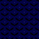 Pattern with starry sky and flying bats. Seamless pattern with frightful black colored flying bats with evil yellow colored eyes and sharp ears  on starry sky Stock Photography