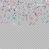 Pattern with stars and confetty for Memorial Day celebration on transparent background.Red and blue color elegant star background. Pattern with stars and Royalty Free Stock Photography