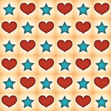 The pattern of stars and hearts. Royalty Free Stock Image