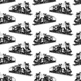 Pattern with steam locomotive stock illustration