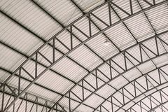 Pattern of steel roof framework, Curve roof steel design structure with galvanized corrugated roofing tile steel sheet.  stock images