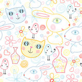 A pattern of strange children's animals Royalty Free Stock Photo