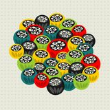 Pattern with strange floral balls. Stock Photography