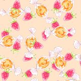 Pattern with strawberries and candies Royalty Free Stock Photos