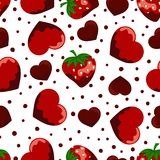 Pattern with strawberries and hearts. Pink seamless background with strawberries and hearts, seamless sweet vector heart pattern, can be used like wallpaper Stock Photos