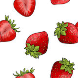 Pattern of strawberries over white background Royalty Free Stock Photo