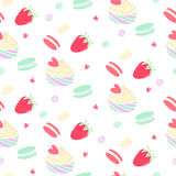 Pattern with strawberries and sugar confectionery. Cute pattern with cupcakes, macaroons, strawberries and hearts Royalty Free Stock Photography