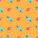 Pattern with strawberry and candy Royalty Free Stock Images