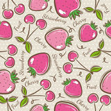 Pattern with strawberry and cherry. Seamless Patterns with Fruit Background with strawberry and cherry. Ideal for printing onto fabric and paper or scrap vector illustration