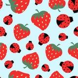 Pattern with strawberry and ladybug. Bright pattern with strawberry and ladybug on blue, cartoon cute fruit background stock illustration