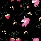 Pattern strawbwrry & unicorn cute. Design pattern sweets strawberry and unicorn seamless cute fabric  for clothing ,bags or another Stock Illustration