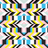 Pattern with stripe, chevron, geometric shapes Stock Image