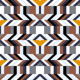Pattern with stripe, chevron, geometric shapes Stock Photo