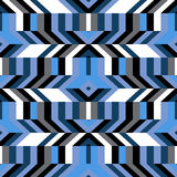 Pattern with stripe, chevron, geometric shapes. Abstract geometric color blocked pattern with lines, stripes, chevrons, random geometric shapes. Vector seamless Royalty Free Stock Images