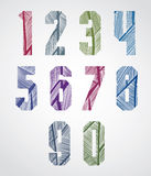 Pattern striped colorful decorative numbers Royalty Free Stock Photos