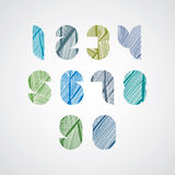 Pattern striped colorful numbers. Textured numeration Royalty Free Stock Photography