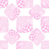 Pattern of stripes and circles. Abstract seamless pattern of pink squares with the cell, bubbles, circles and waves. Doodle style. Can be used to design the Royalty Free Stock Photo