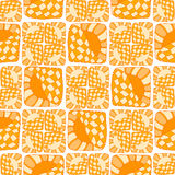 Pattern of stripes and circles. Abstract seamless pattern of stripes and circles. In yellow and orange tones, doodle style. Can be used to design the covers of vector illustration