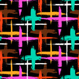 Pattern with stripes and crosses Stock Photo
