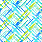 Pattern with stripes and crosses. Vector seamless bold plaid pattern with thin brushstrokes and thin stripes hand painted in bright colors. Dynamic striped print Royalty Free Stock Images