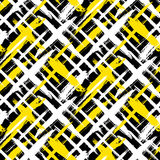 Pattern with stripes and crosses. Vector seamless bold plaid pattern with thin brushstrokes and thin stripes hand painted in bright colors. Dynamic striped print Royalty Free Stock Photography