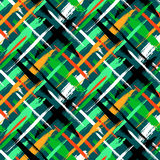 Pattern with stripes and crosses. Vector seamless bold plaid pattern with thin brushstrokes and thin stripes hand painted in bright green colors. Dynamic striped Stock Image