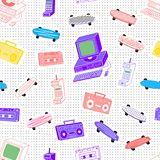 Pattern cassettes 80s. Pattern in the style of the 80`s 90`s from cassettes, tape recorders, computers, phones, skateboards on a background with dots vector illustration